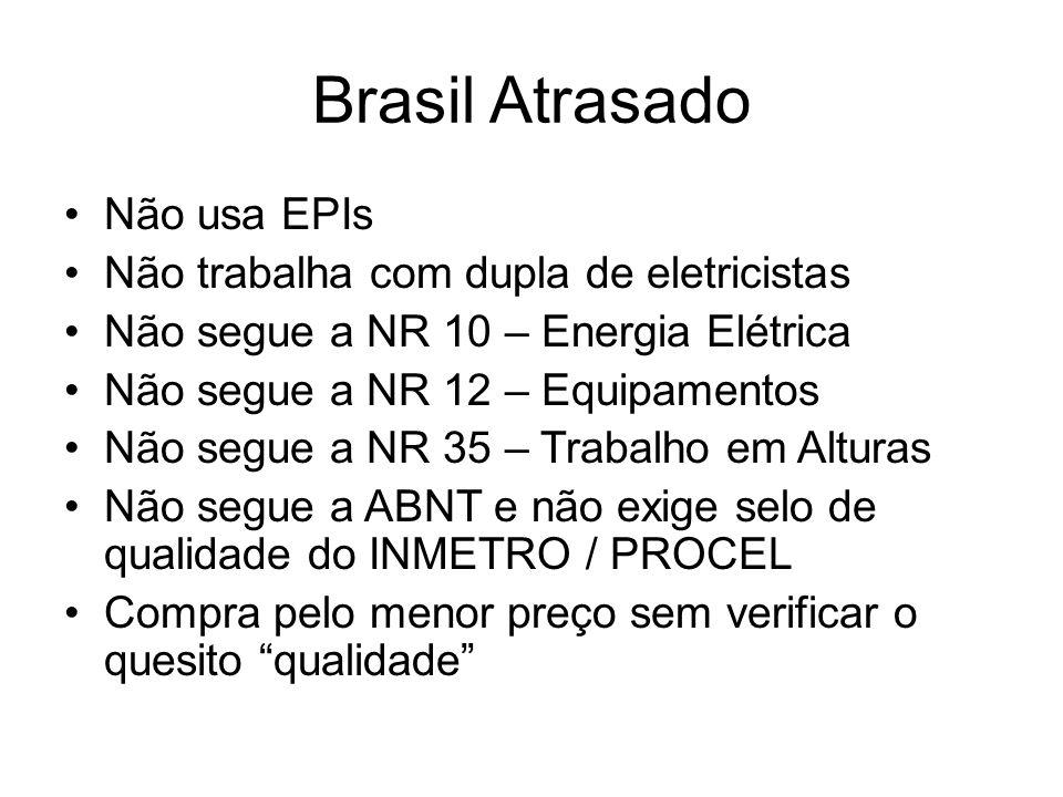 Brasil Atrasado Não usa EPIs Não trabalha com dupla de eletricistas Não segue a NR 10 – Energia Elétrica Não segue a NR 12 – Equipamentos Não segue a