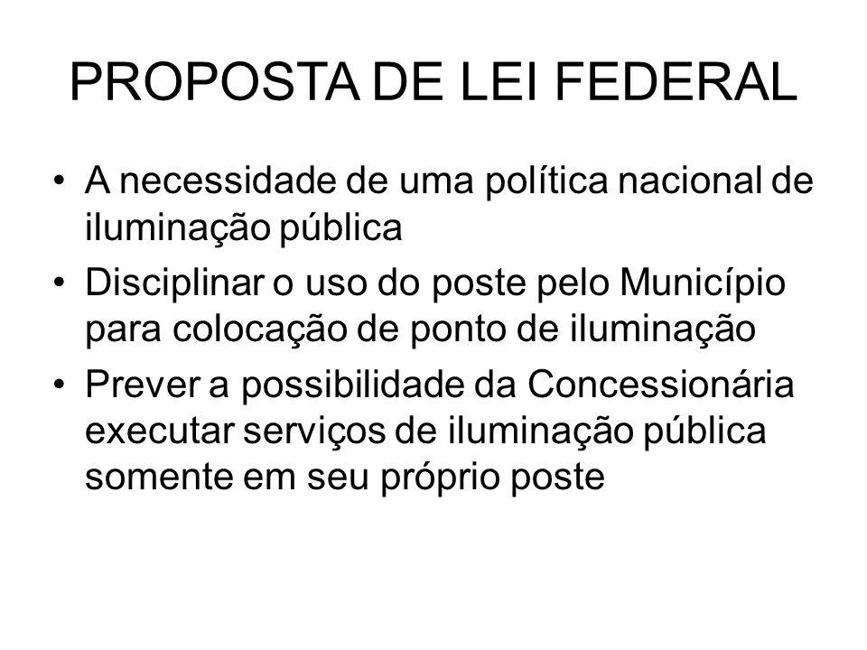 PROPOSTA DE LEI FEDERAL A necessidade de uma política nacional de iluminação pública Disciplinar o uso do poste pelo Município para colocação de ponto