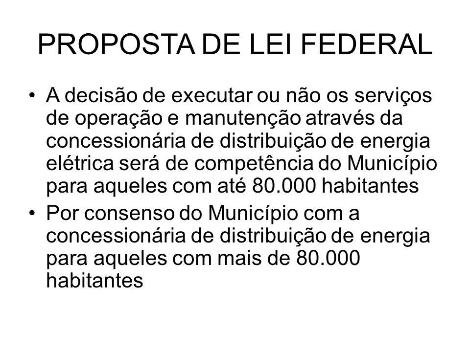 PROPOSTA DE LEI FEDERAL A decisão de executar ou não os serviços de operação e manutenção através da concessionária de distribuição de energia elétric