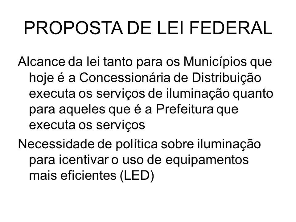 PROPOSTA DE LEI FEDERAL Alcance da lei tanto para os Municípios que hoje é a Concessionária de Distribuição executa os serviços de iluminação quanto p
