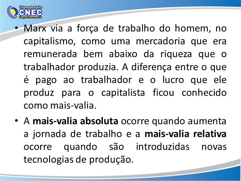 Marx via a força de trabalho do homem, no capitalismo, como uma mercadoria que era remunerada bem abaixo da riqueza que o trabalhador produzia.
