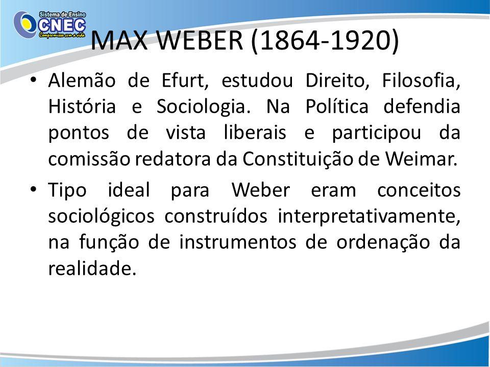 MAX WEBER (1864-1920) Alemão de Efurt, estudou Direito, Filosofia, História e Sociologia.