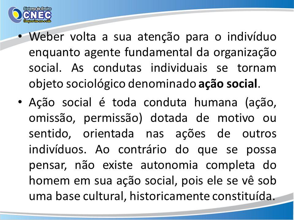 Weber volta a sua atenção para o indivíduo enquanto agente fundamental da organização social.