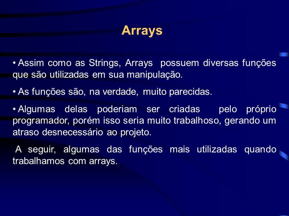 Assim como as Strings, Arrays possuem diversas funções que são utilizadas em sua manipulação.