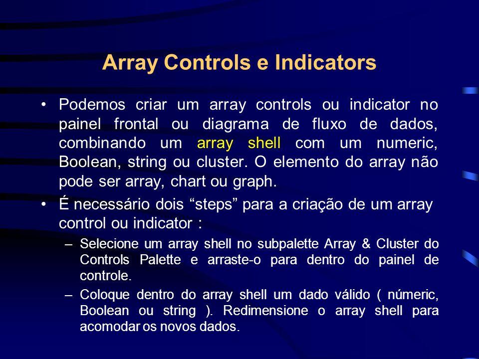 Array Controls e Indicators Podemos criar um array controls ou indicator no painel frontal ou diagrama de fluxo de dados, combinando um array shell com um numeric, Boolean, string ou cluster.