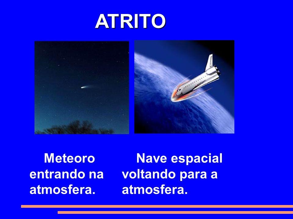 Meteoro entrando na atmosfera. Nave espacial voltando para a atmosfera. ATRITO ATRITO