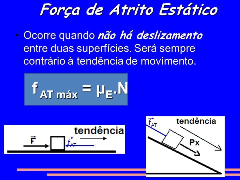Força de Atrito Estático Ocorre quando não há deslizamento entre duas superfícies. Será sempre contrário à tendência de movimento. f AT f AT máx = μ E