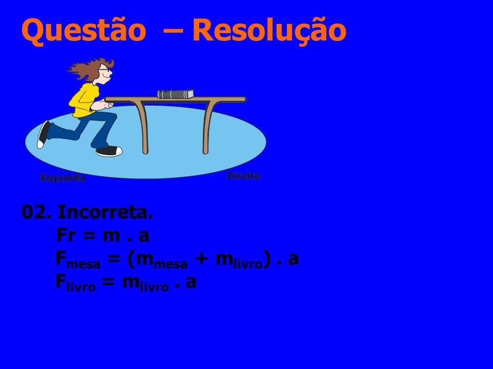 Questão – Resolução 02. Incorreta. Fr = m. a F mesa = (m mesa + m livro ). a F livro = m livro. a