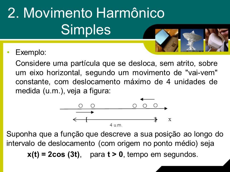 2. Movimento Harmônico Simples Exemplo: Considere uma partícula que se desloca, sem atrito, sobre um eixo horizontal, segundo um movimento de