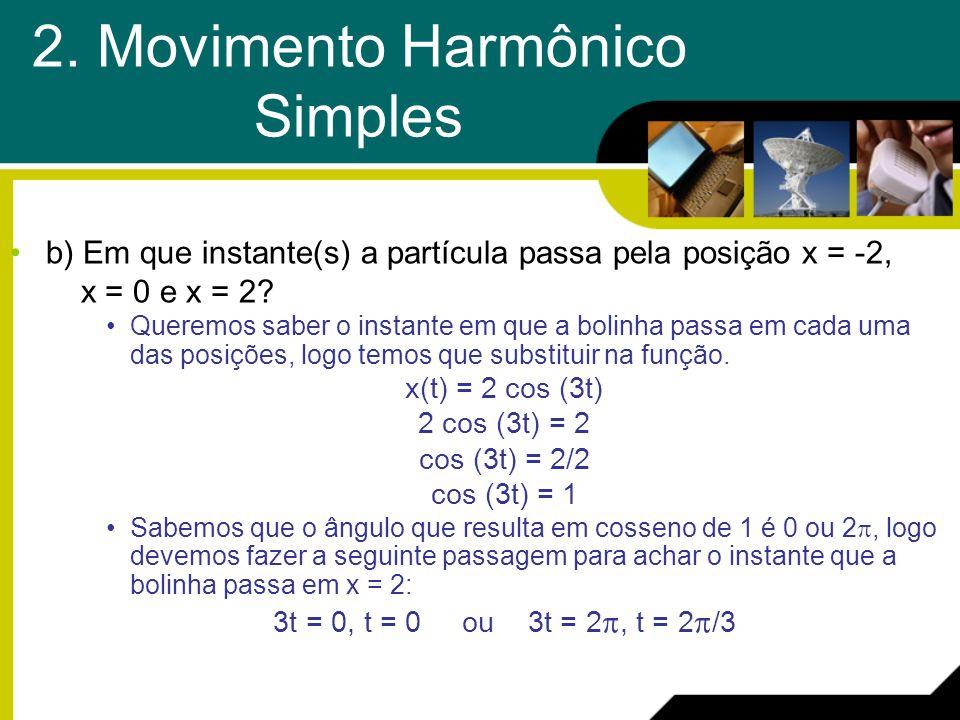 b) Em que instante(s) a partícula passa pela posição x = -2, x = 0 e x = 2? Queremos saber o instante em que a bolinha passa em cada uma das posições,