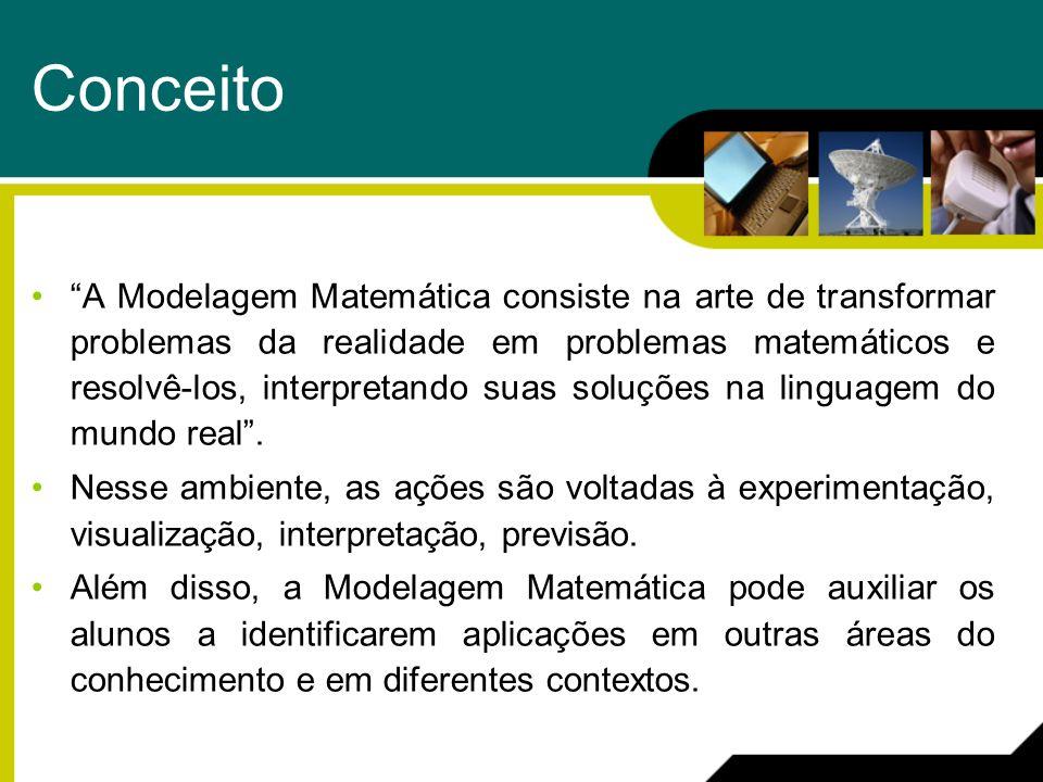 Conceito A Modelagem Matemática consiste na arte de transformar problemas da realidade em problemas matemáticos e resolvê-los, interpretando suas solu