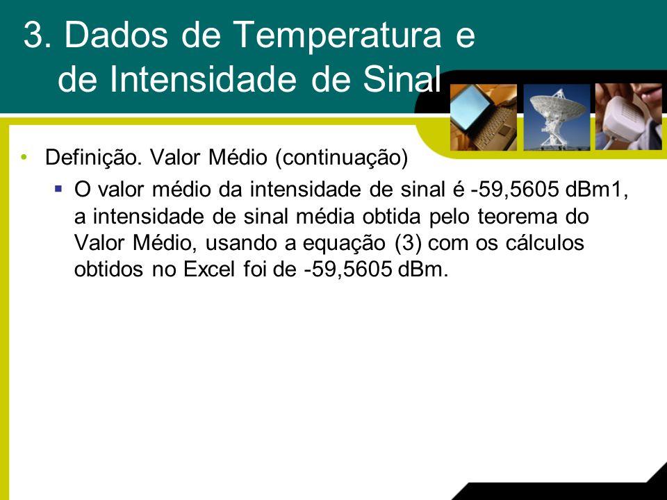 3. Dados de Temperatura e de Intensidade de Sinal Definição. Valor Médio (continuação) O valor médio da intensidade de sinal é -59,5605 dBm1, a intens