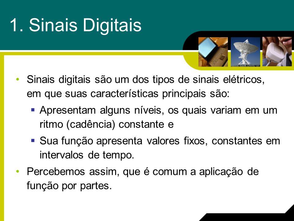 1. Sinais Digitais Sinais digitais são um dos tipos de sinais elétricos, em que suas características principais são: Apresentam alguns níveis, os quai