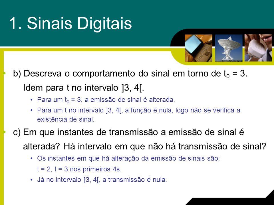 1. Sinais Digitais b) Descreva o comportamento do sinal em torno de t 0 = 3. Idem para t no intervalo ]3, 4[. Para um t 0 = 3, a emissão de sinal é al