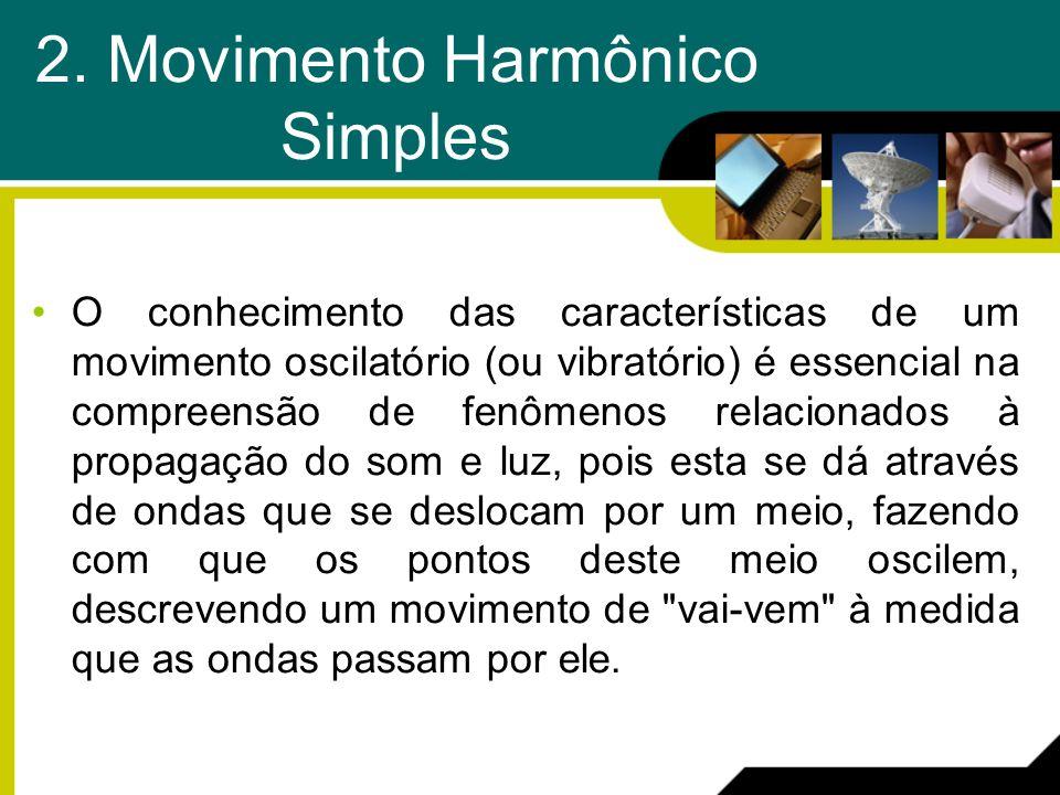 2. Movimento Harmônico Simples O conhecimento das características de um movimento oscilatório (ou vibratório) é essencial na compreensão de fenômenos