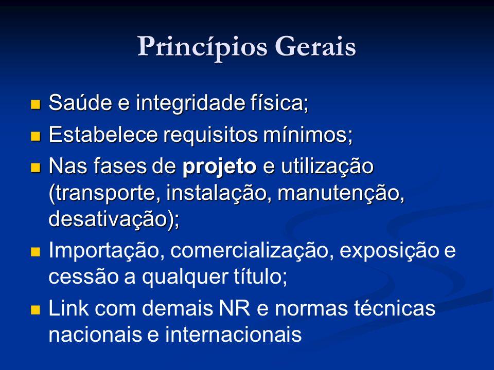 Princípios Gerais Saúde e integridade física; Saúde e integridade física; Estabelece requisitos mínimos; Estabelece requisitos mínimos; Nas fases de p