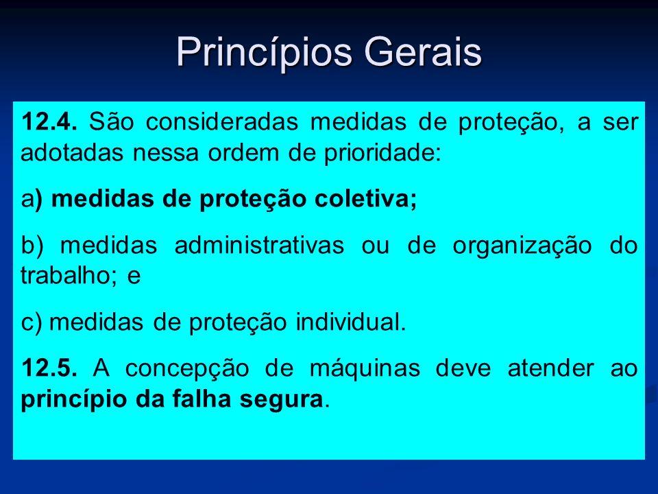 Princípios Gerais 12.4. São consideradas medidas de proteção, a ser adotadas nessa ordem de prioridade: a) medidas de proteção coletiva; b) medidas ad