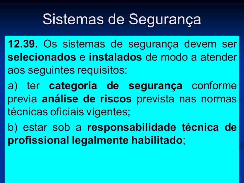 Sistemas de Segurança 12.39. Os sistemas de segurança devem ser selecionados e instalados de modo a atender aos seguintes requisitos: a) ter categoria