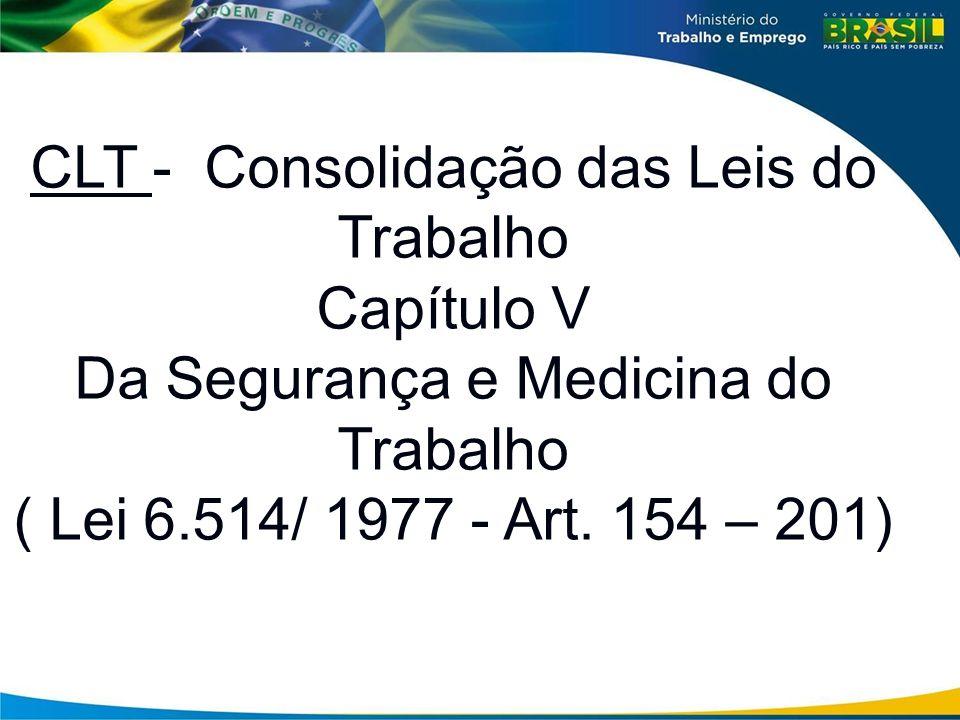 CLT - Consolidação das Leis do Trabalho Capítulo V Da Segurança e Medicina do Trabalho ( Lei 6.514/ 1977 - Art. 154 – 201)