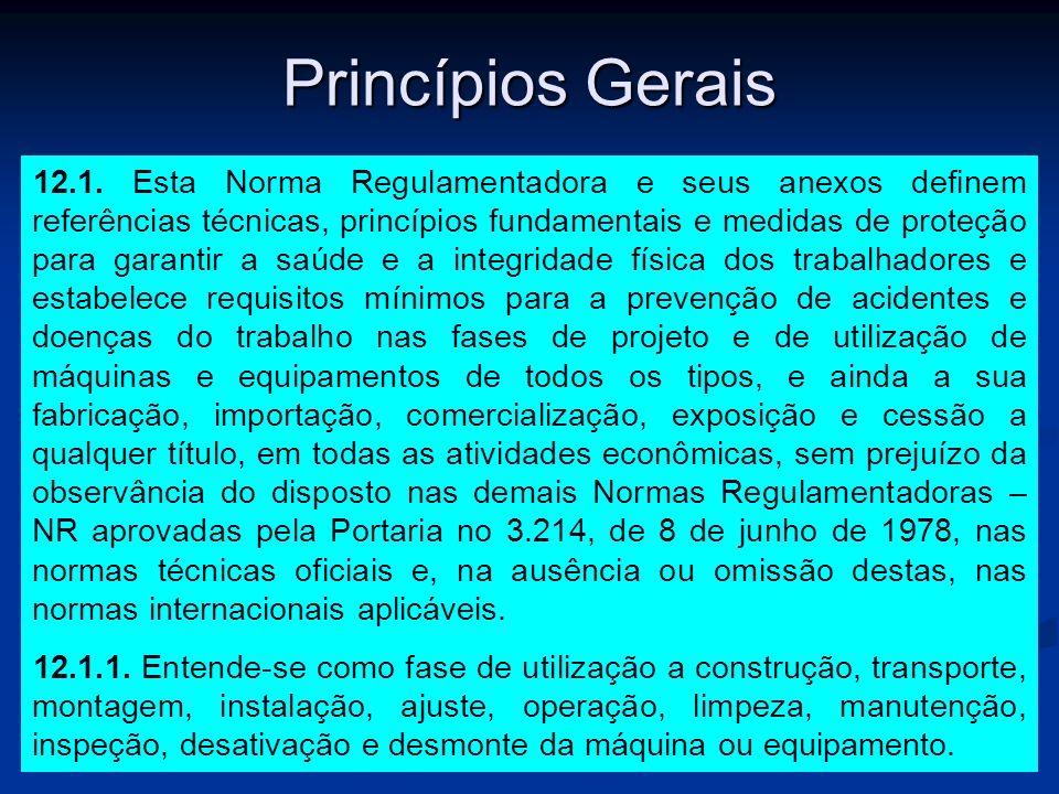 Princípios Gerais 12.1. Esta Norma Regulamentadora e seus anexos definem referências técnicas, princípios fundamentais e medidas de proteção para gara