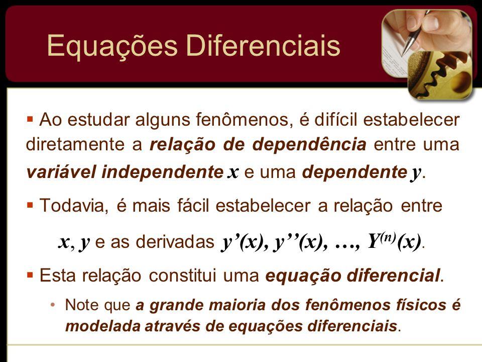 Equações Diferenciais Ao estudar alguns fenômenos, é difícil estabelecer diretamente a relação de dependência entre uma variável independente x e uma