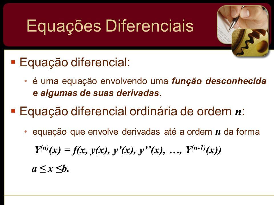 Equações Diferenciais Equação diferencial: é uma equação envolvendo uma função desconhecida e algumas de suas derivadas. Equação diferencial ordinária