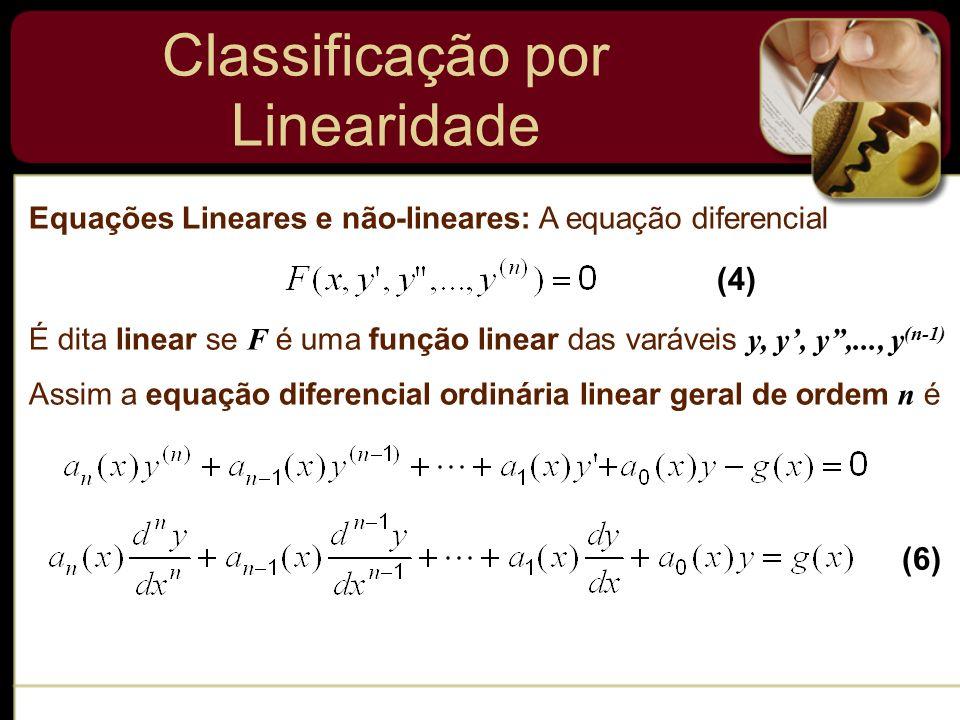 Equações Lineares e não-lineares: A equação diferencial É dita linear se F é uma função linear das varáveis y, y, y,..., y (n-1) Assim a equação difer