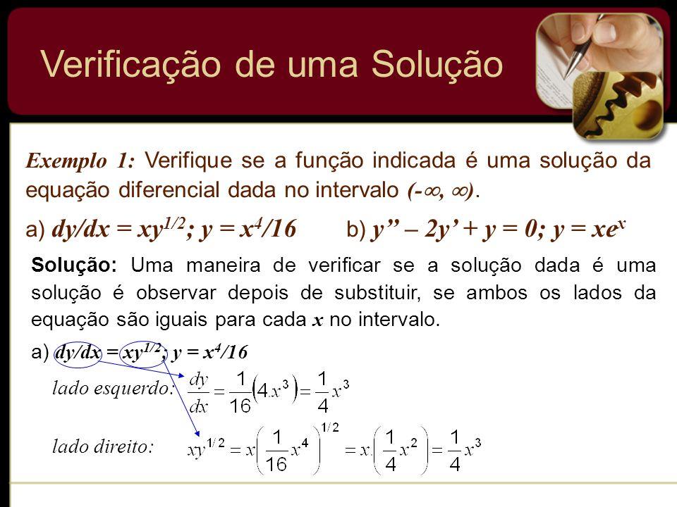 Verificação de uma Solução Exemplo 1: Verifique se a função indicada é uma solução da equação diferencial dada no intervalo (-, ). a) dy/dx = xy 1/2 ;