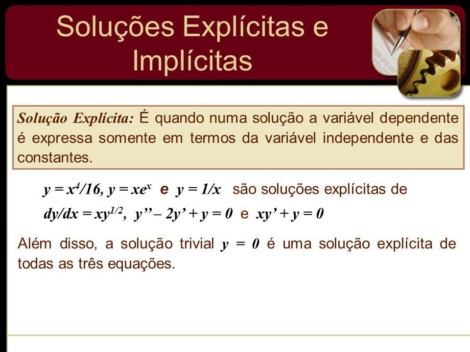 Soluções Explícitas e Implícitas Solução Explícita: É quando numa solução a variável dependente é expressa somente em termos da variável independente