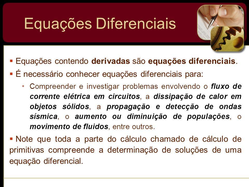 Equações Diferenciais Equações contendo derivadas são equações diferenciais. É necessário conhecer equações diferenciais para: Compreender e investiga