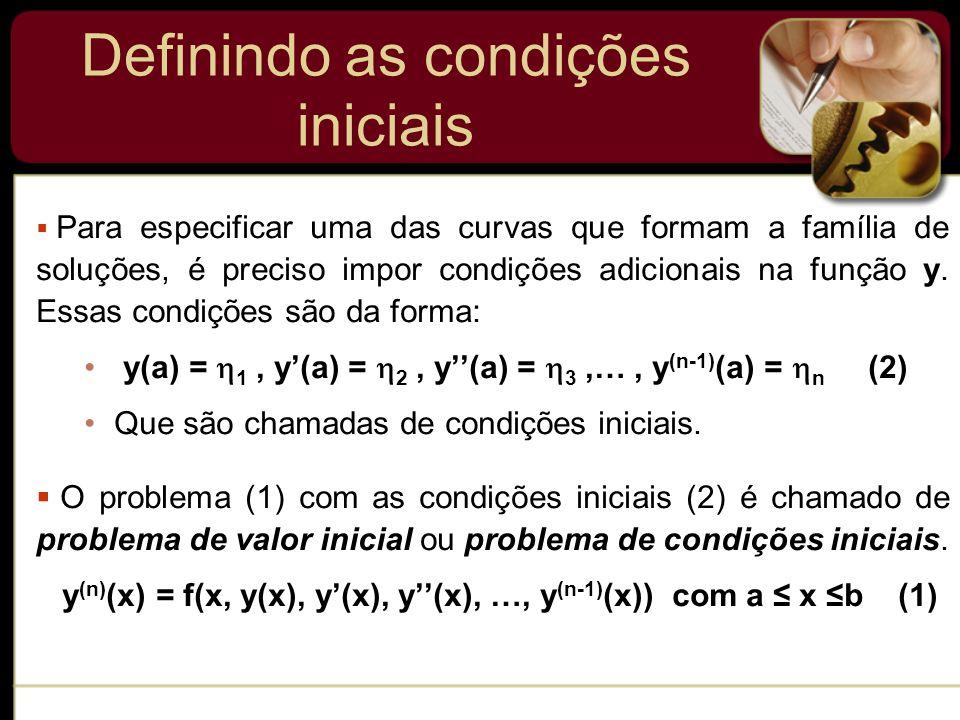 Definindo as condições iniciais Para especificar uma das curvas que formam a família de soluções, é preciso impor condições adicionais na função y. Es
