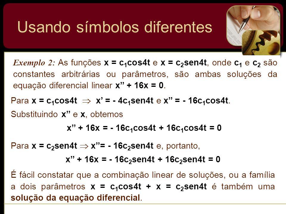 Usando símbolos diferentes Exemplo 2: As funções x = c 1 cos4t e x = c 2 sen4t, onde c 1 e c 2 são constantes arbitrárias ou parâmetros, são ambas sol
