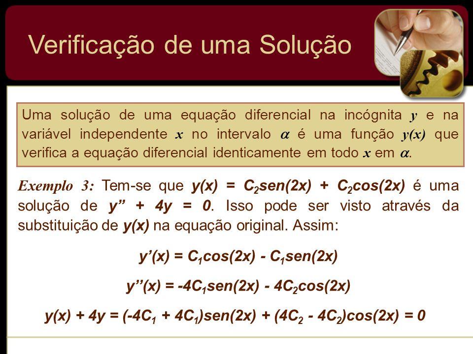 Verificação de uma Solução Uma solução de uma equação diferencial na incógnita y e na variável independente x no intervalo é uma função y(x) que verif