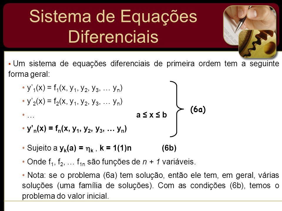 Sistema de Equações Diferenciais Um sistema de equações diferenciais de primeira ordem tem a seguinte forma geral: y 1 (x) = f 1 (x, y 1, y 2, y 3, …