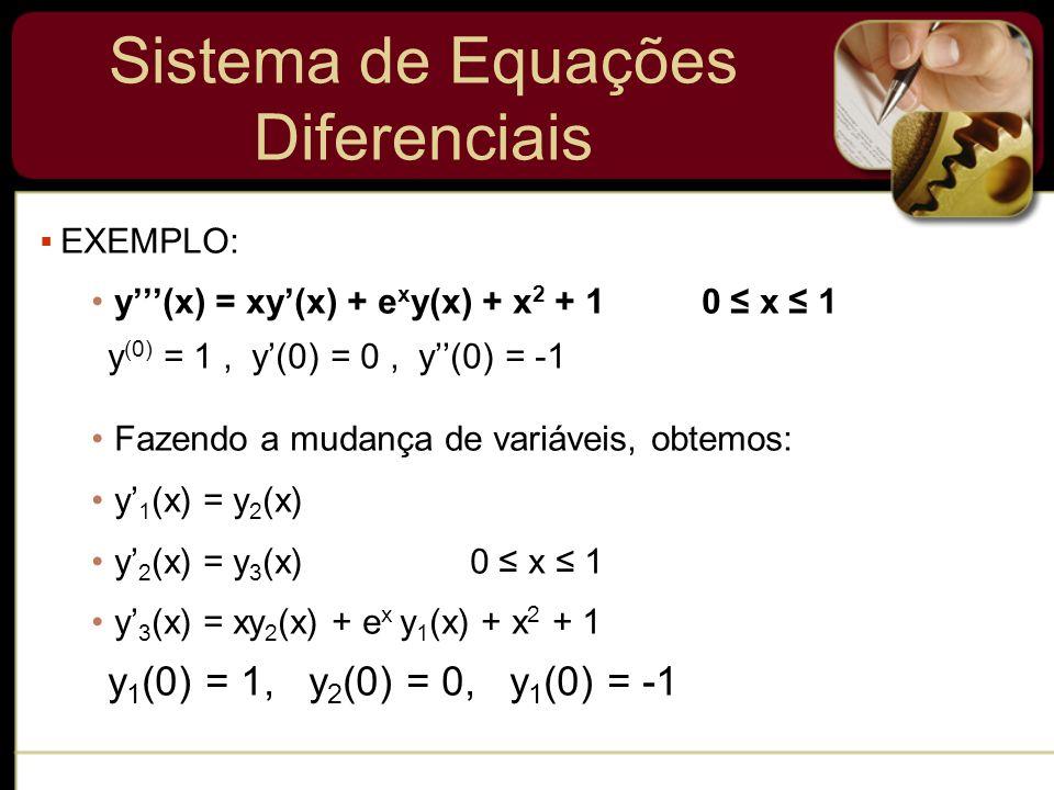 Sistema de Equações Diferenciais EXEMPLO: y(x) = xy(x) + e x y(x) + x 2 + 1 0 x 1 y (0) = 1, y(0) = 0, y(0) = -1 Fazendo a mudança de variáveis, obtem