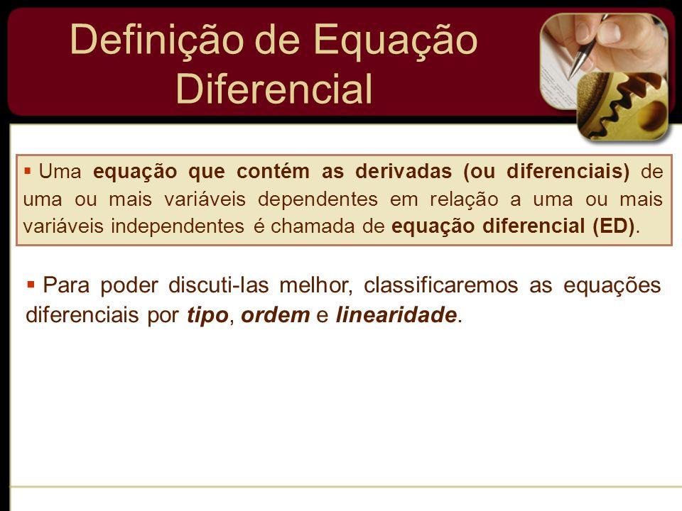 Definição de Equação Diferencial Uma equação que contém as derivadas (ou diferenciais) de uma ou mais variáveis dependentes em relação a uma ou mais v