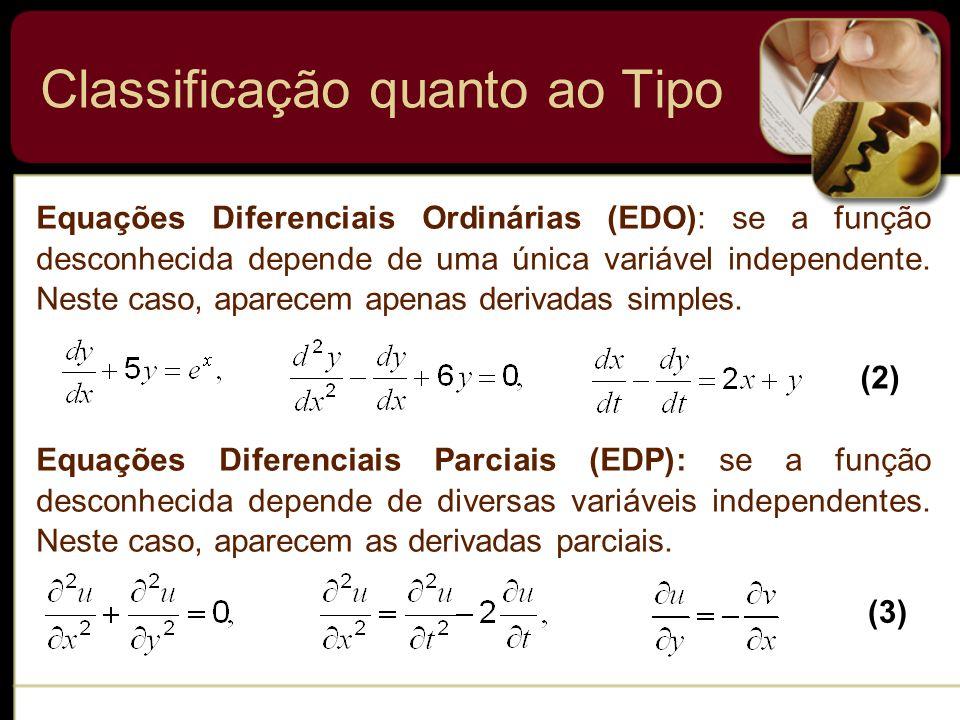 Classificação quanto ao Tipo Equações Diferenciais Ordinárias (EDO): se a função desconhecida depende de uma única variável independente. Neste caso,