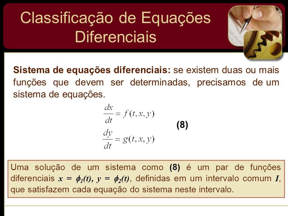 Classificação de Equações Diferenciais Sistema de equações diferenciais: se existem duas ou mais funções que devem ser determinadas, precisamos de um