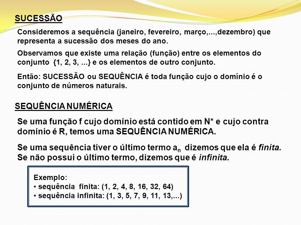 DETERMINAÇÃO DOS ELEMENTOS DE UMA SEQUÊNCIA Uma sequência pode ser definida por uma lei de formação que permite determinar seus elementos.