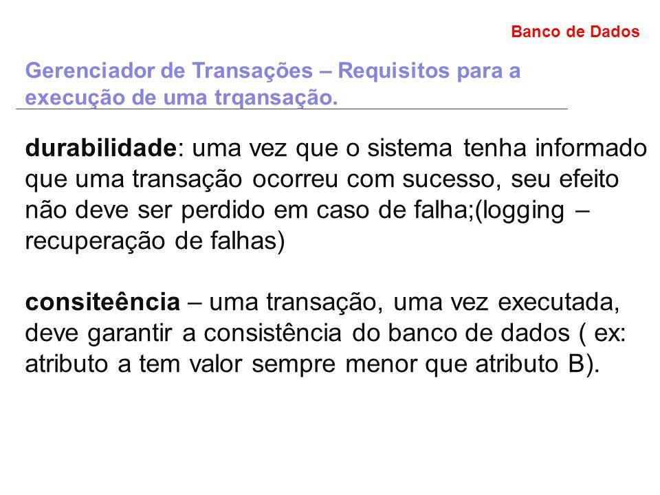 Banco de Dados Gerenciador de Transações – Requisitos para a execução de uma trqansação.