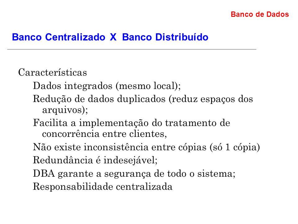 Banco de Dados Os Bancos de dados centralizados: Características Dados integrados (mesmo local); Redução de dados duplicados (reduz espaços dos arquivos); Facilita a implementação do tratamento de concorrência entre clientes, Não existe inconsistência entre cópias (só 1 cópia) Redundância é indesejável; DBA garante a segurança de todo o sistema; Responsabilidade centralizada Banco Centralizado X Banco Distribuído