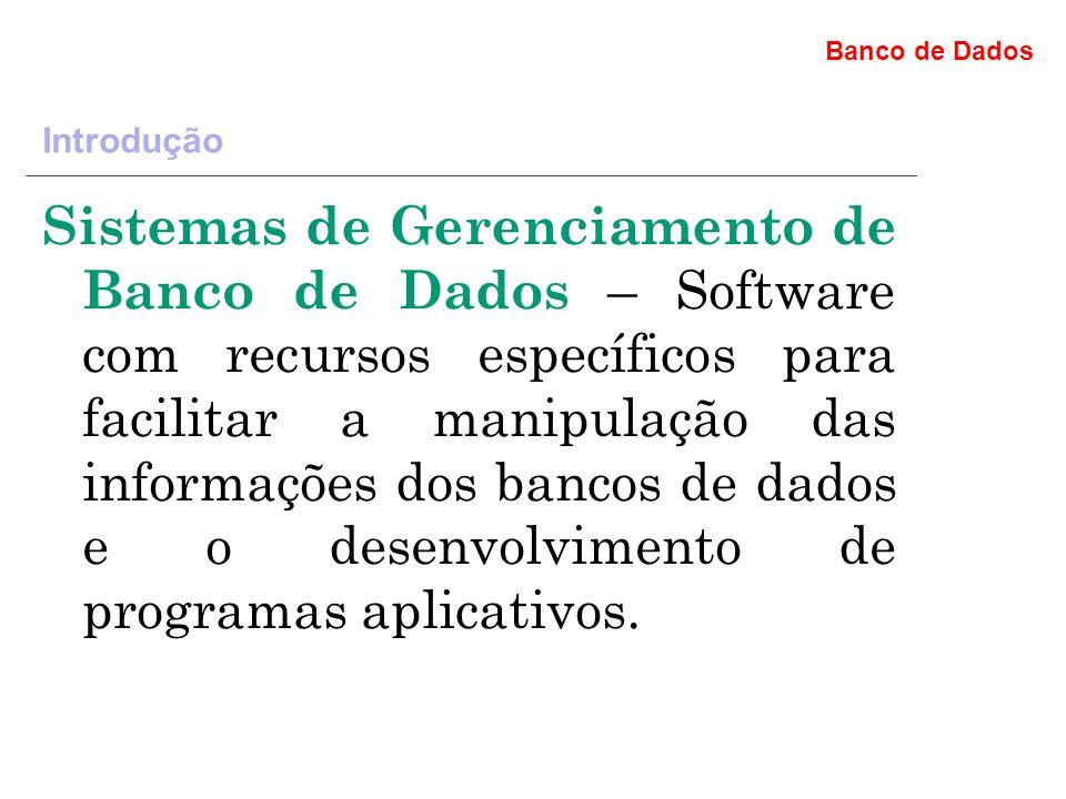 Banco de Dados Introdução Sistemas de Gerenciamento de Banco de Dados – Software com recursos específicos para facilitar a manipulação das informações dos bancos de dados e o desenvolvimento de programas aplicativos.