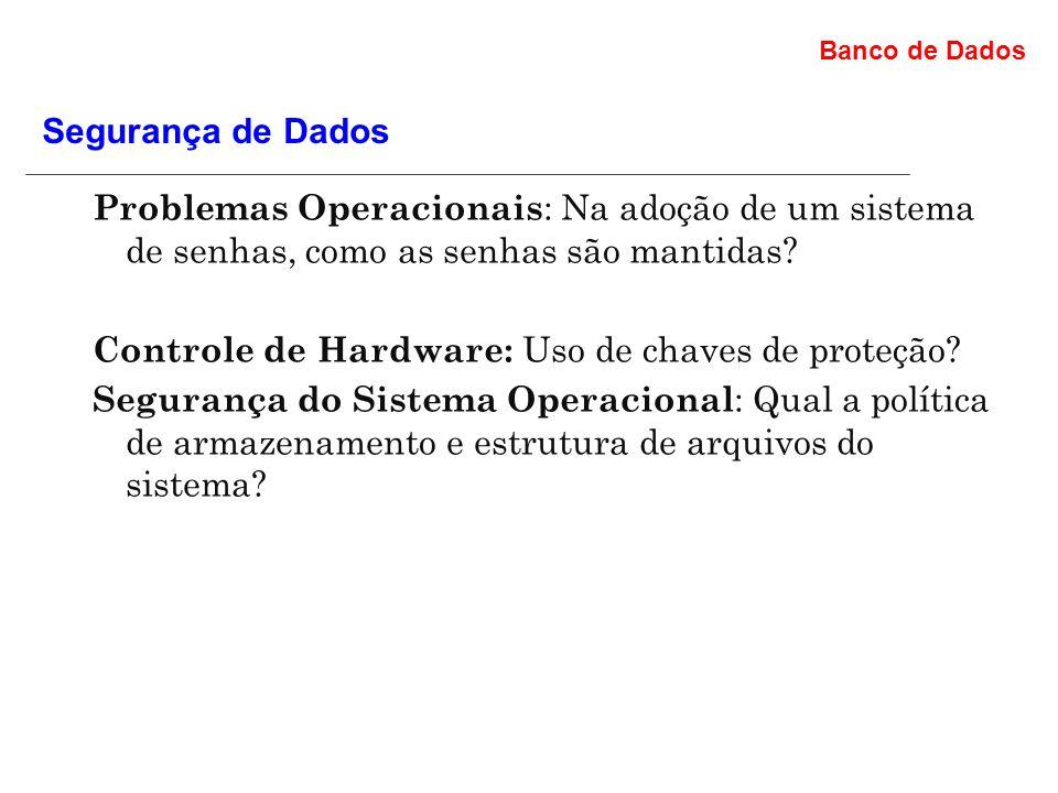 Banco de Dados Problemas Operacionais : Na adoção de um sistema de senhas, como as senhas são mantidas.