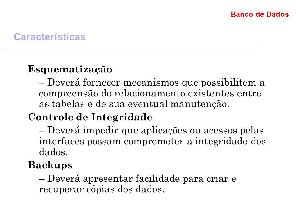 Banco de Dados Esquematização – Deverá fornecer mecanismos que possibilitem a compreensão do relacionamento existentes entre as tabelas e de sua eventual manutenção.