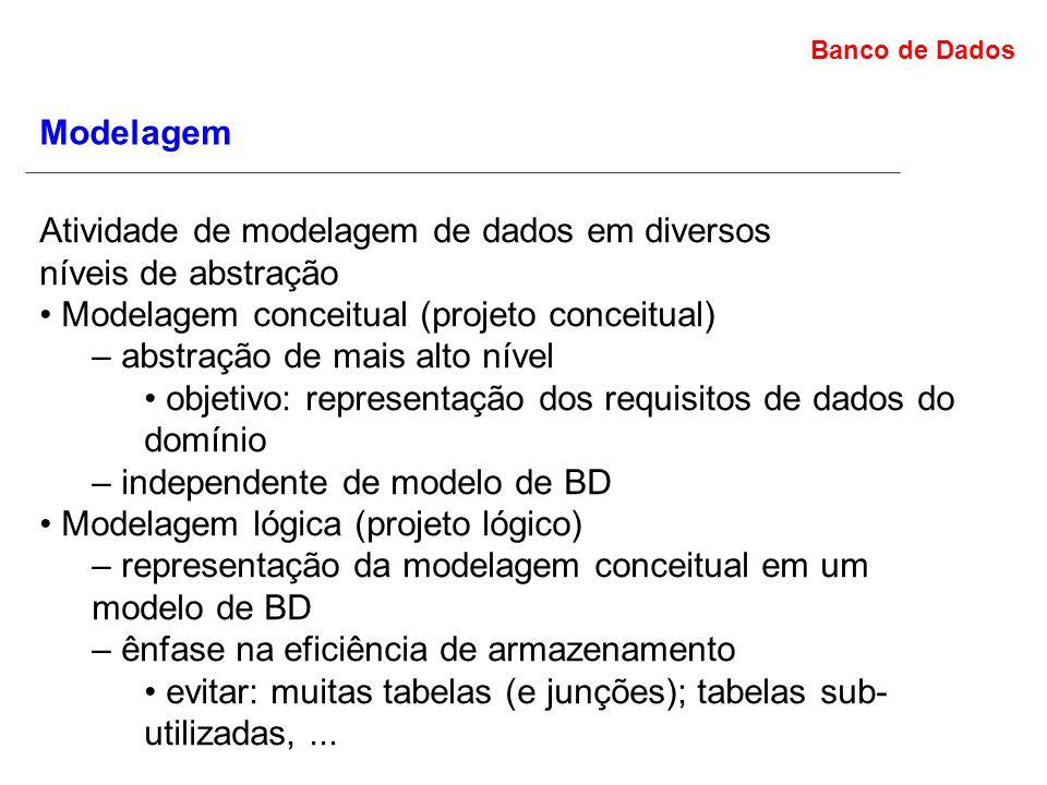 Banco de Dados Modelagem Atividade de modelagem de dados em diversos níveis de abstração Modelagem conceitual (projeto conceitual) – abstração de mais alto nível objetivo: representação dos requisitos de dados do domínio – independente de modelo de BD Modelagem lógica (projeto lógico) – representação da modelagem conceitual em um modelo de BD – ênfase na eficiência de armazenamento evitar: muitas tabelas (e junções); tabelas sub- utilizadas,...