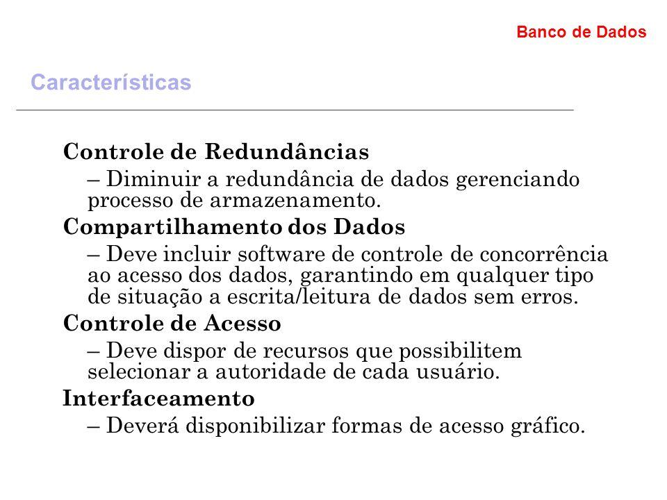 Banco de Dados Características Controle de Redundâncias – Diminuir a redundância de dados gerenciando processo de armazenamento.