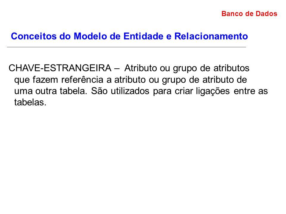 Banco de Dados Conceitos do Modelo de Entidade e Relacionamento CHAVE-ESTRANGEIRA – Atributo ou grupo de atributos que fazem referência a atributo ou grupo de atributo de uma outra tabela.