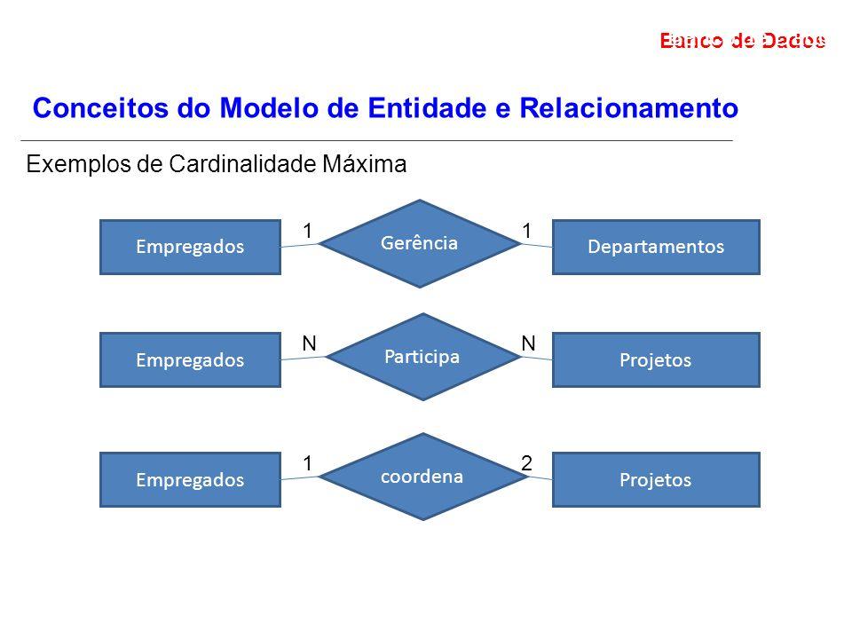 Banco de Dados Projeto de Banco de Dados Conceitos do Modelo de Entidade e Relacionamento Exemplos de Cardinalidade Máxima EmpregadosDepartamentos Gerência 11 EmpregadosProjetos Participa NN EmpregadosProjetos coordena 12