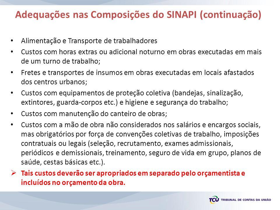 Adequações nas Composições do SINAPI (continuação) Alimentação e Transporte de trabalhadores Custos com horas extras ou adicional noturno em obras exe