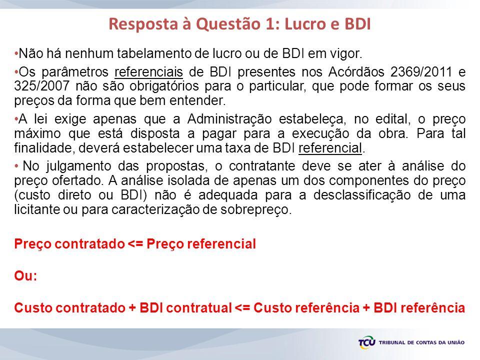 Resposta à Questão 1: Lucro e BDI Não há nenhum tabelamento de lucro ou de BDI em vigor. Os parâmetros referenciais de BDI presentes nos Acórdãos 2369